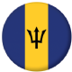 Barbados Country Flag 25mm Flat Back